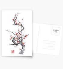 Chinese plum tree blossom sumi-e painting Postcards