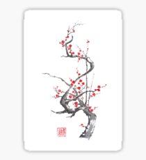 Chinese plum tree blossom sumi-e painting Sticker