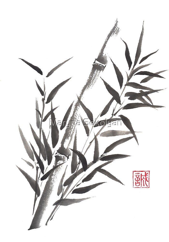 No doubt bamboo sumi-e painting by Maryna Sokolyan