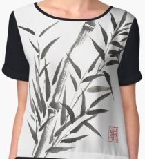 No doubt bamboo sumi-e painting Women's Chiffon Top