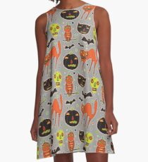 Faces of Halloween A-Line Dress