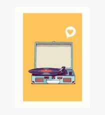 Blauer Vinyl-Plattenspieler Kunstdruck