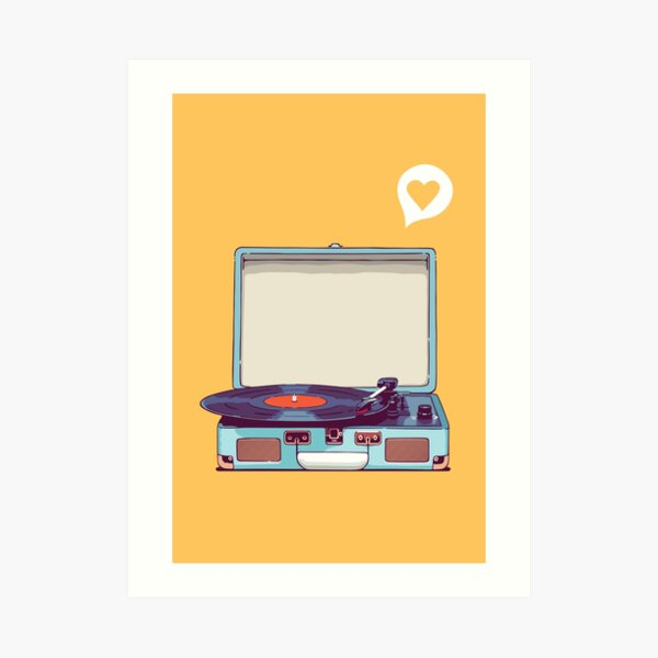 Blue Vinyl Record Player Art Print