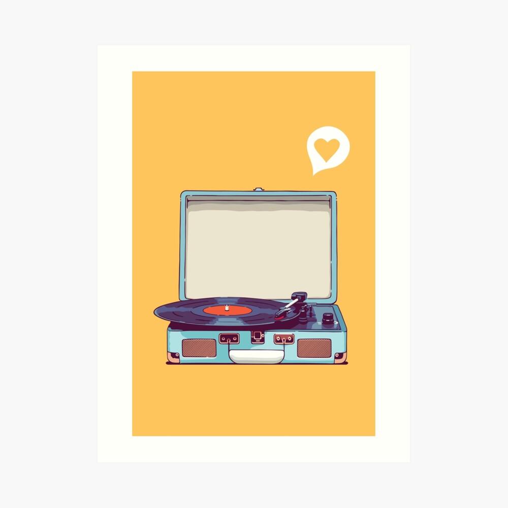 Reproductor de discos de vinilo azul Lámina artística