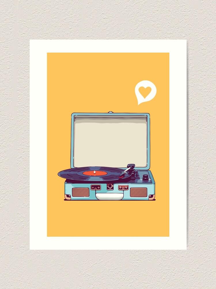 Alternate view of Blue Vinyl Record Player Art Print