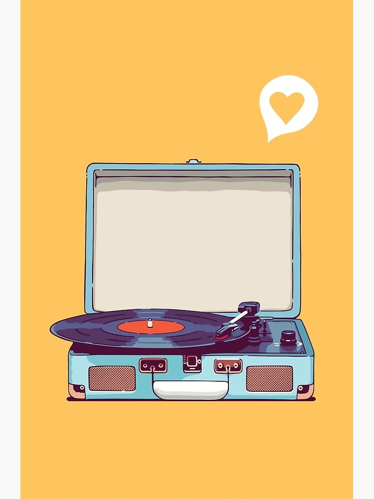 Blauer Vinyl-Plattenspieler von sundrystudio
