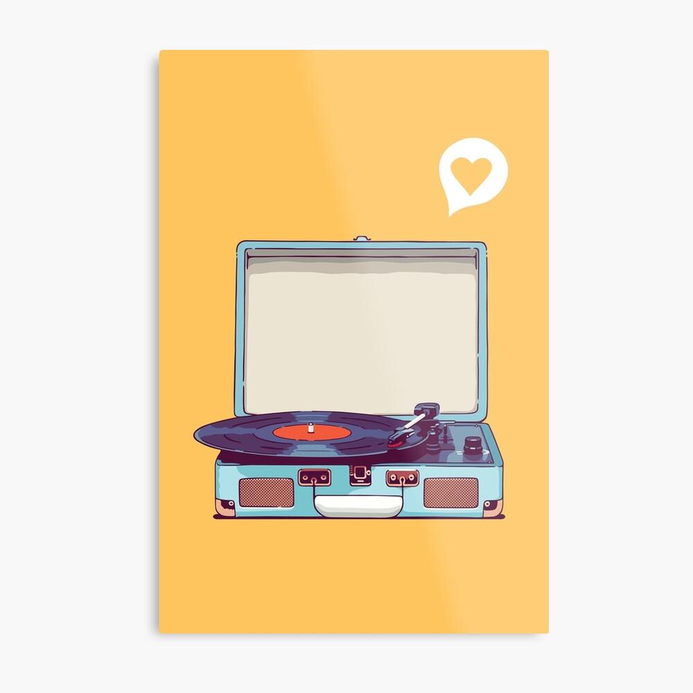 Blauer Vinyl-Plattenspieler Metalldruck
