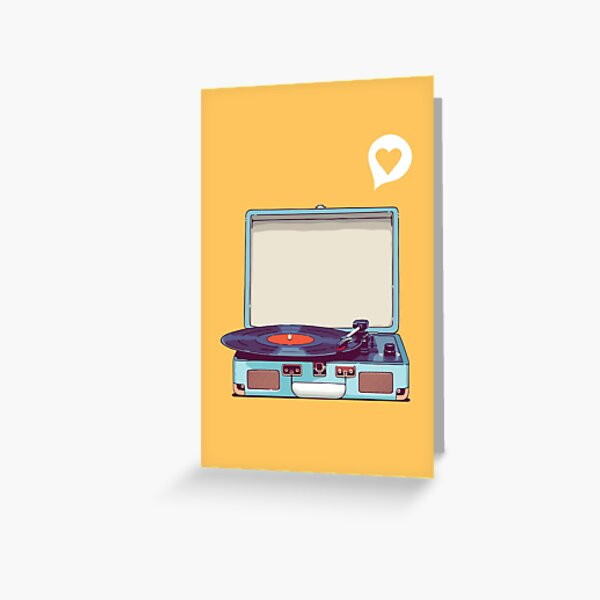 Blue Vinyl Record Player Greeting Card