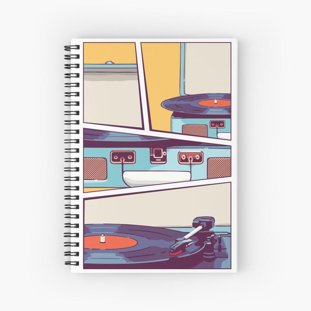 Blue Vinyl Record Player Spiral Notebook