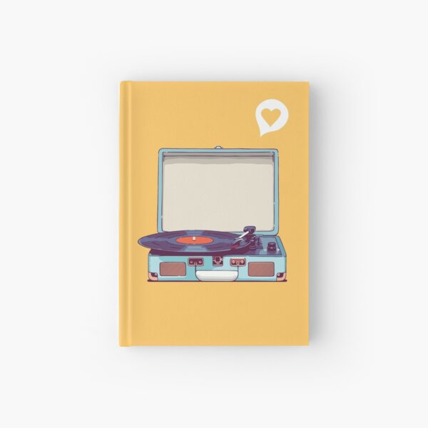 Blue Vinyl Record Player Hardcover Journal