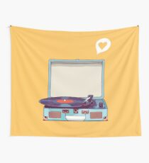 Blue Vinyl Record Player Wall Tapestry