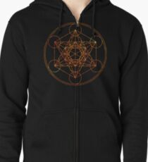 Metatron's Cube [The Red Moon] | Sacred Geometry Zipped Hoodie