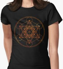 Metatron's Cube [The Red Moon] | Sacred Geometry Women's Fitted T-Shirt