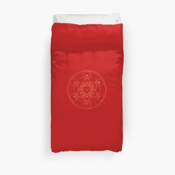 Metatron's Cube [The Red Moon] | Sacred Geometry Duvet Cover