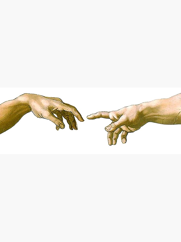 Touch of God, The Creation of Adam, (close up), Michelangelo, 1510, Genesis, Ceiling, Sistine Chapel, Rome, on White. by TOMSREDBUBBLE
