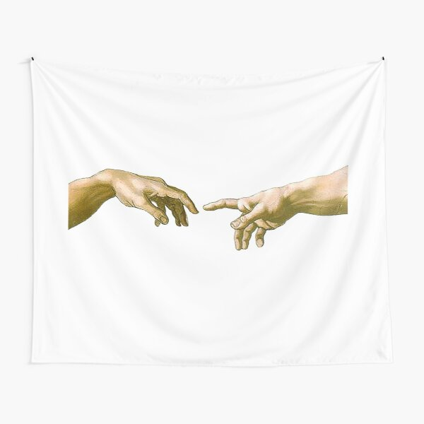Touch of God, The Creation of Adam, (close up), Michelangelo, 1510, Genesis, Ceiling, Sistine Chapel, Rome, on White. Tapestry