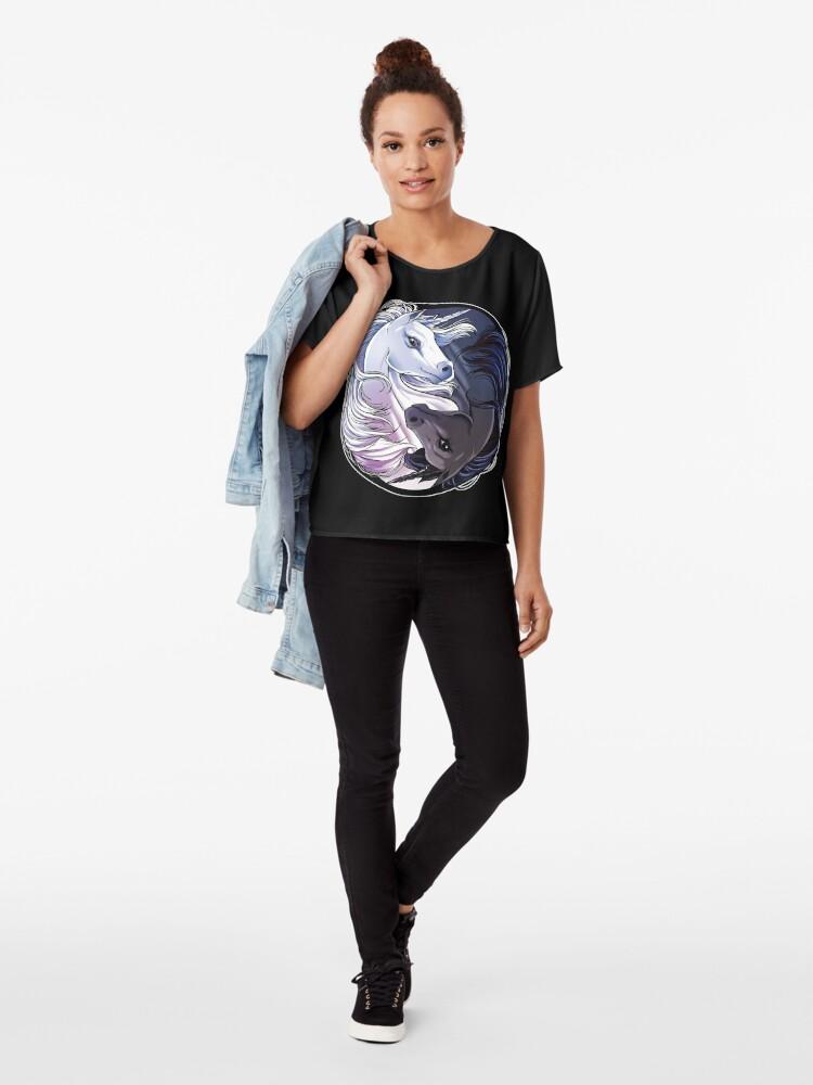 """ unicorn yin yang funny yoga t shirt unicorns men women"