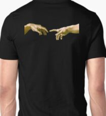 Touch of God, The Creation of Adam, (close up), Michelangelo, 1510, Genesis, Ceiling, Sistine Chapel, Rome, on BLACK T-Shirt