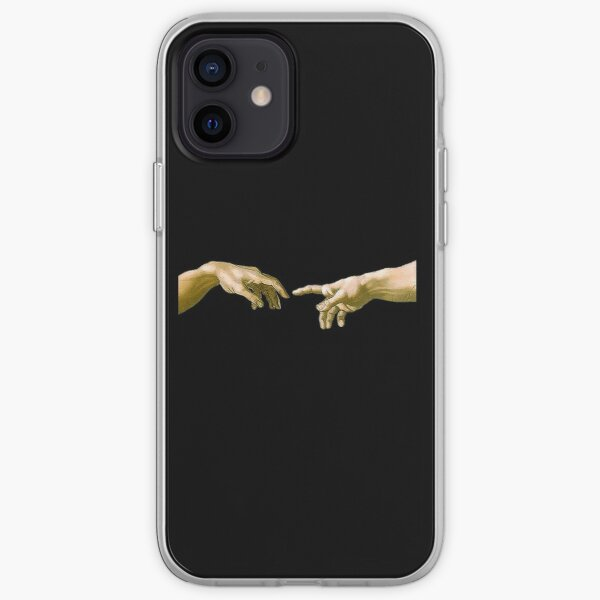 Touch of God, The Creation of Adam, (close up), Michelangelo, 1510, Genesis, Ceiling, Sistine Chapel, Rome, on BLACK. iPhone Soft Case