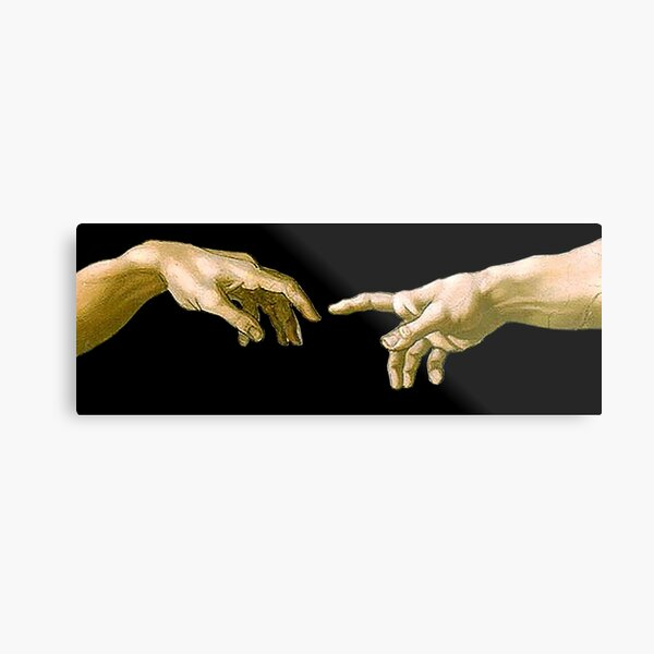 Touch of God, The Creation of Adam, (close up), Michelangelo, 1510, Genesis, Ceiling, Sistine Chapel, Rome, on BLACK. Metal Print