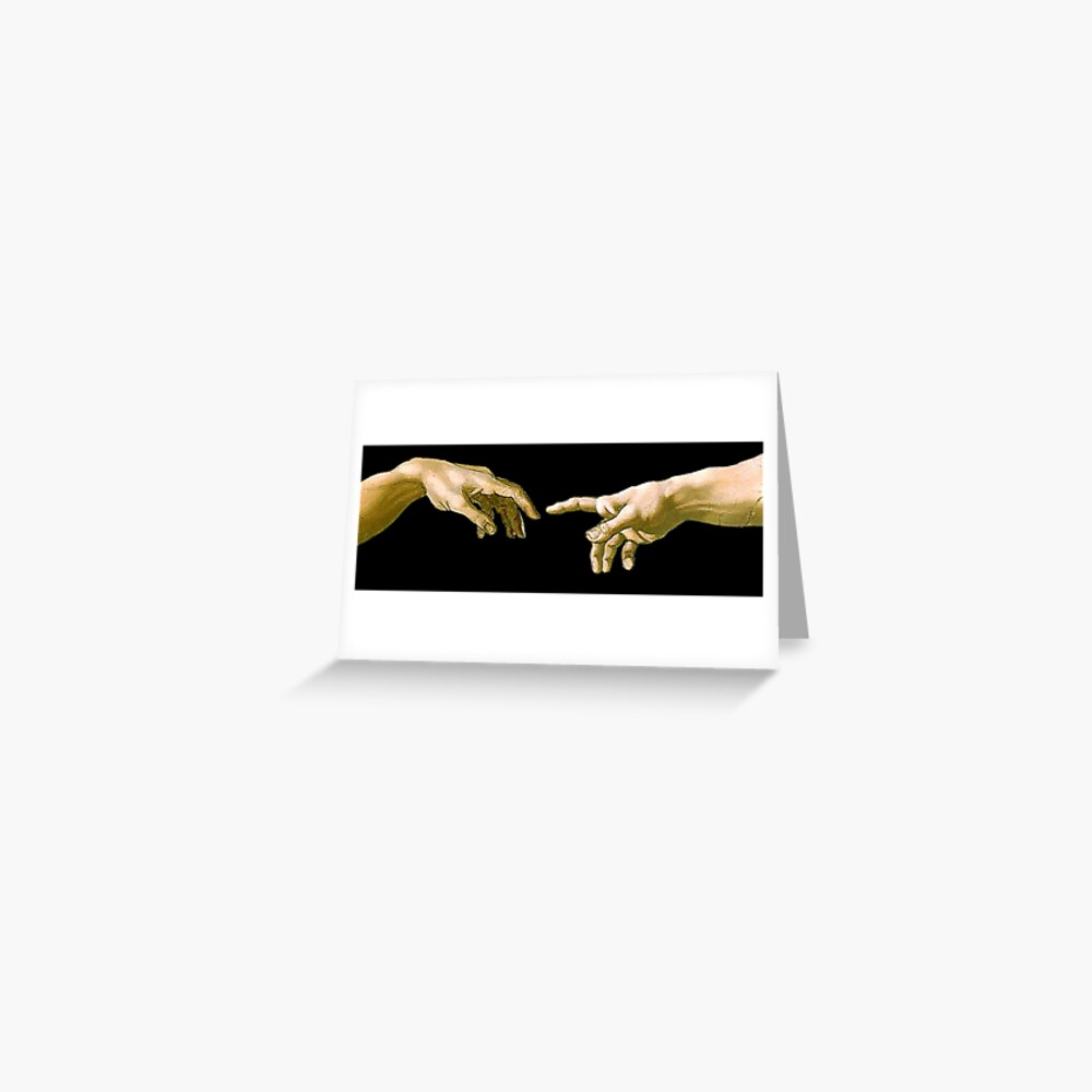 Touch of God, The Creation of Adam, (close up), Michelangelo, 1510, Genesis, Ceiling, Sistine Chapel, Rome, on BLACK Greeting Card