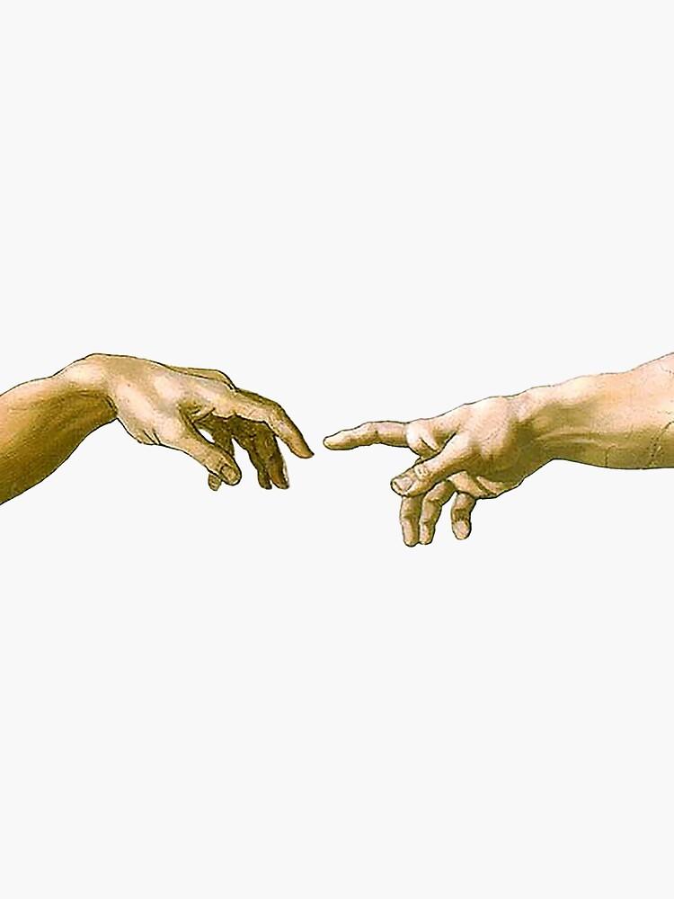 Toque de Dios, La creación de Adán, (primer plano), Miguel Ángel, 1510, Génesis, Techo, Capilla Sixtina, Roma, en NEGRO de TOMSREDBUBBLE