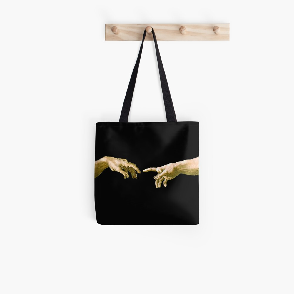 Touch of God, The Creation of Adam, (close up), Michelangelo, 1510, Genesis, Ceiling, Sistine Chapel, Rome, on BLACK. Tote Bag