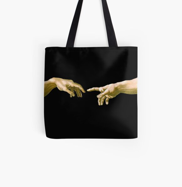 Touch of God, The Creation of Adam, (close up), Michelangelo, 1510, Genesis, Ceiling, Sistine Chapel, Rome, on BLACK. All Over Print Tote Bag