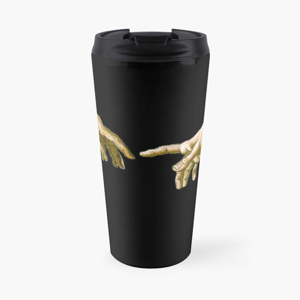 Touch of God, The Creation of Adam, (close up), Michelangelo, 1510, Genesis, Ceiling, Sistine Chapel, Rome, on BLACK Travel Mug