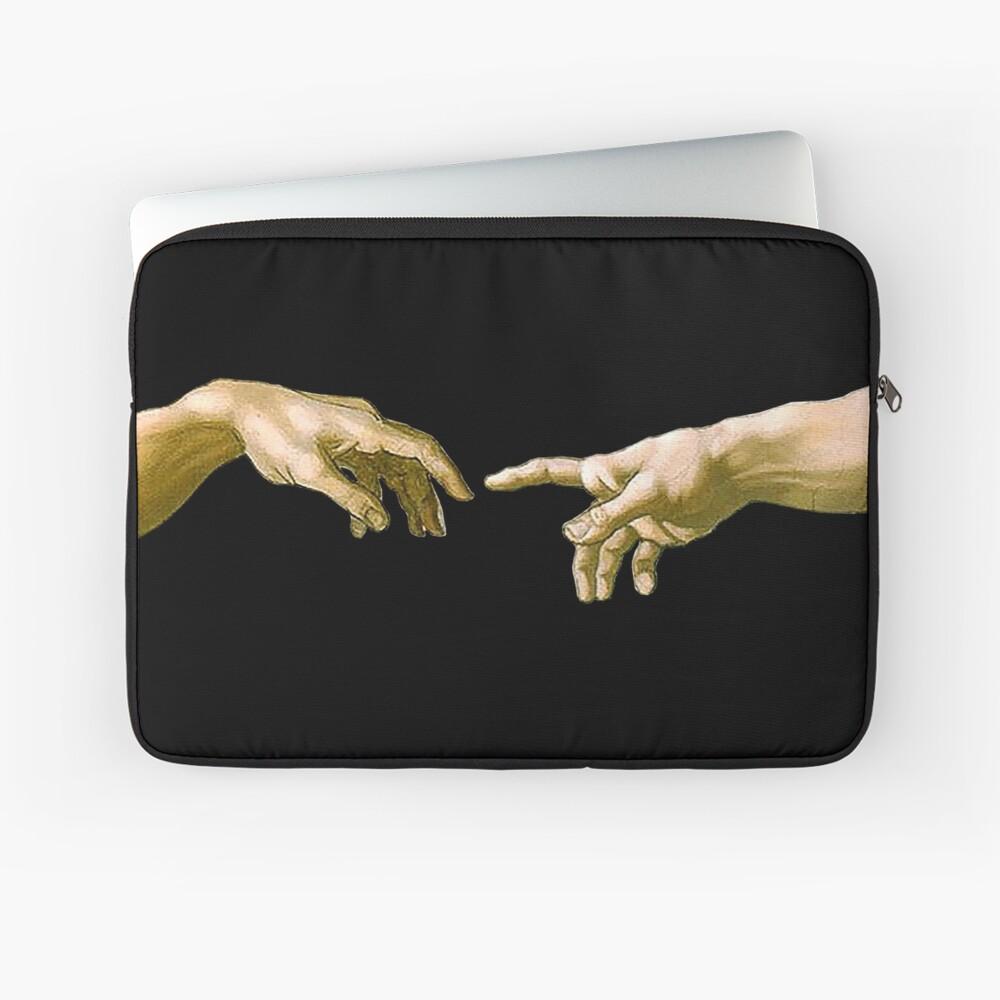 Touch of God, The Creation of Adam, (close up), Michelangelo, 1510, Genesis, Ceiling, Sistine Chapel, Rome, on BLACK Laptop Sleeve