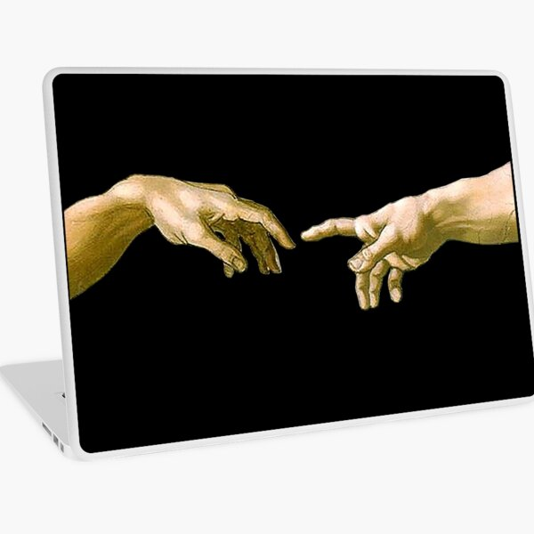 Touch of God, The Creation of Adam, (close up), Michelangelo, 1510, Genesis, Ceiling, Sistine Chapel, Rome, on BLACK. Laptop Skin