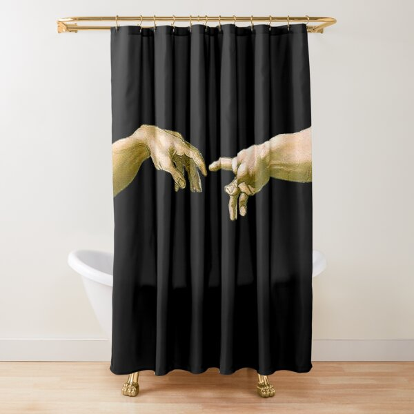 Touch of God, The Creation of Adam, (close up), Michelangelo, 1510, Genesis, Ceiling, Sistine Chapel, Rome, on BLACK. Shower Curtain