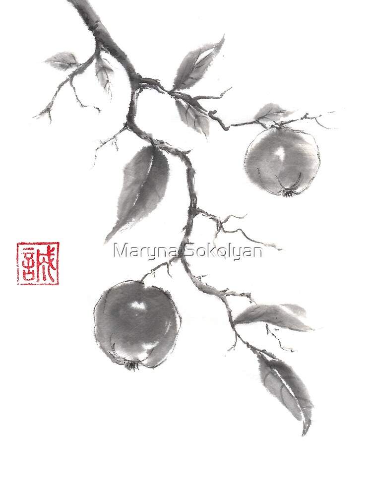 Fruits of the fall sumi-e painting by Umi-ko