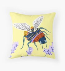 Bumble bee & Lavender - Yellow Throw Pillow