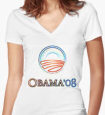 Obama 08 Women's Fitted V-Neck T-Shirt