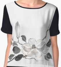 White queen sumi-e painting Chiffon Top