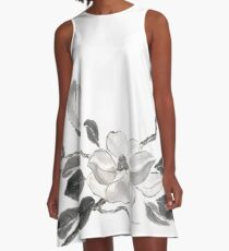 White queen sumi-e painting A-Line Dress