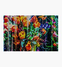 Warm Floral Pixel Tapestry Photographic Print
