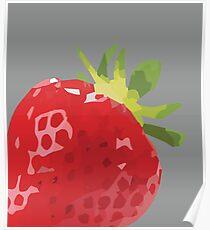 Red Strawberry Illustration - Plant Power - Fresh Fruit Design for Fall Poster