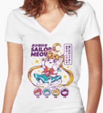 Sailor Meow Women's Fitted V-Neck T-Shirt