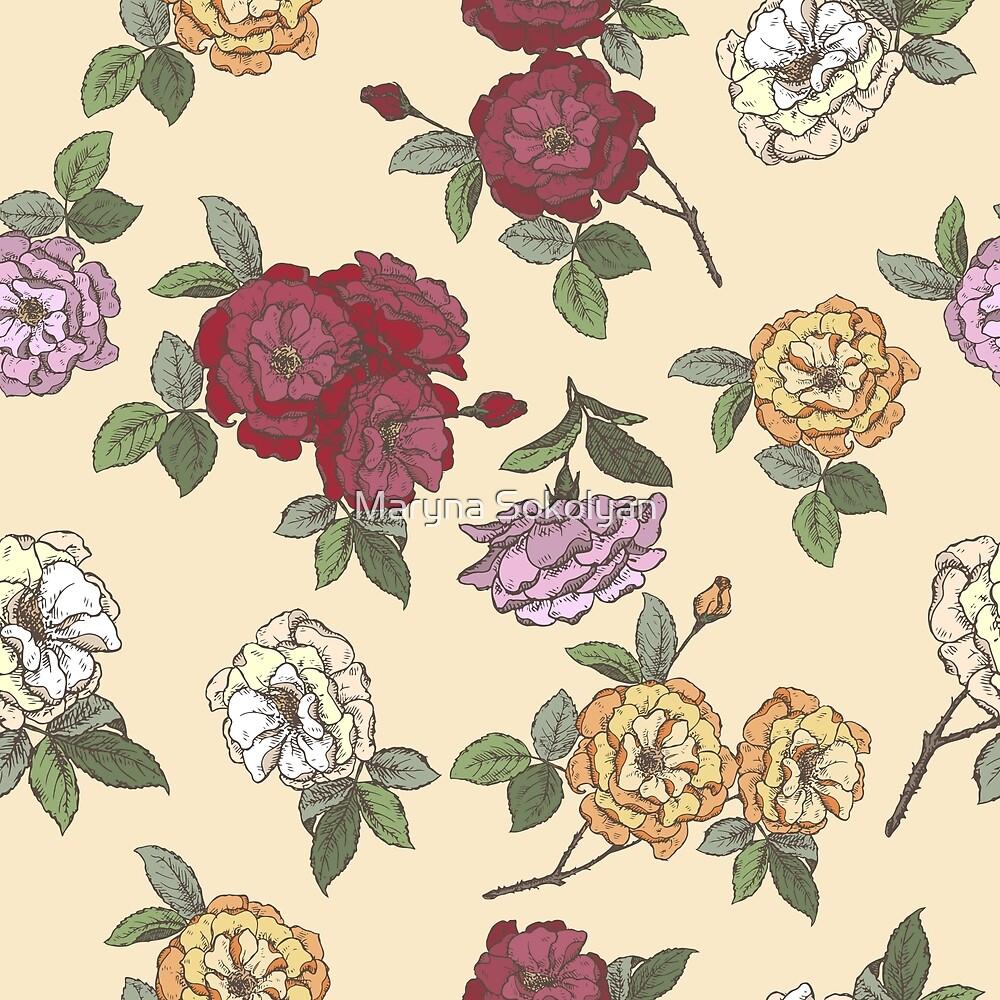 Damask rose pattern by Maryna Sokolyan