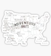 National Parks Map - Lists all 59 National Parks Sticker