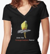 Save the Orange-bellied Parrot items (dark background colours) Women's Fitted V-Neck T-Shirt