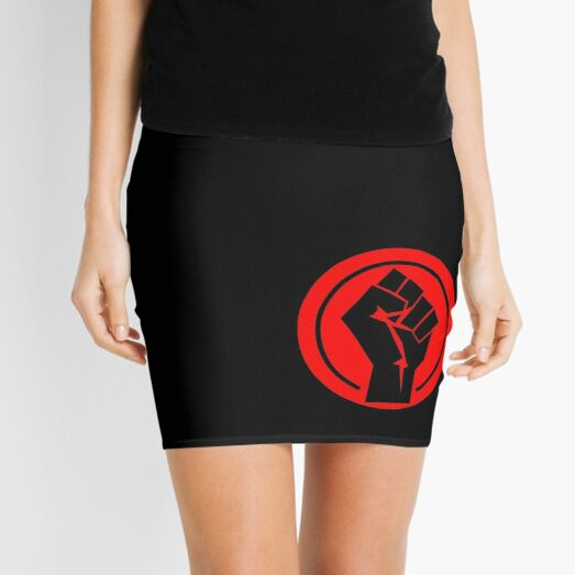 RED Black socialist fist Mini Skirt