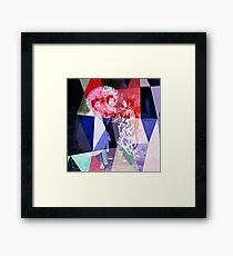 Japanese geishas with umbrellas in colorful abstract style Framed Print