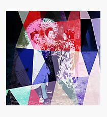 Japanese geishas with umbrellas in colorful abstract style Photographic Print