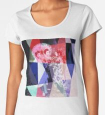 Japanese geishas with umbrellas in colorful abstract style Women's Premium T-Shirt