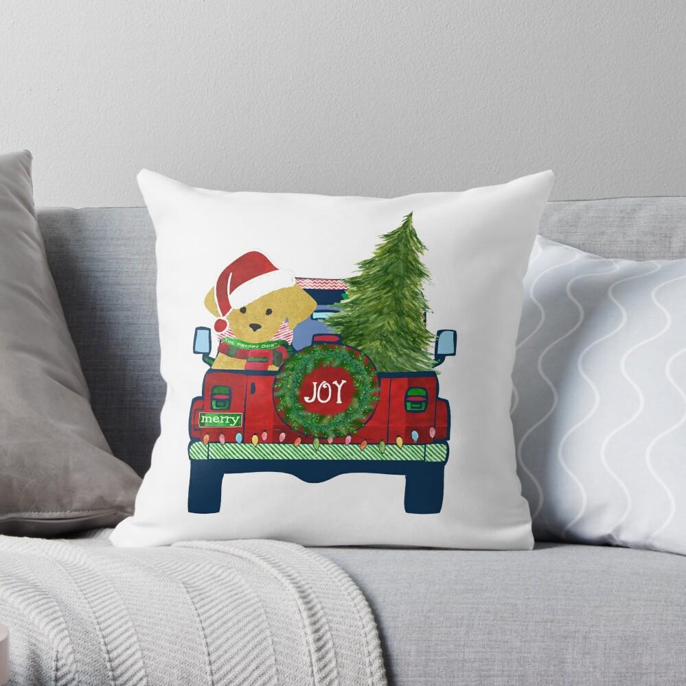 Preppy Christmas Jeep Golden Retriever Puppy - Bringing Home Christmas Tree    Throw Pillow