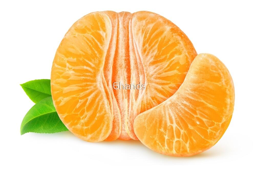 Half of peeled tangerine or orange by 6hands
