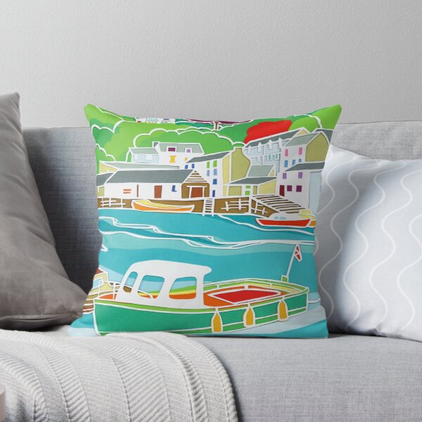 Boats Afloat Fishing Harbour Throw Pillow